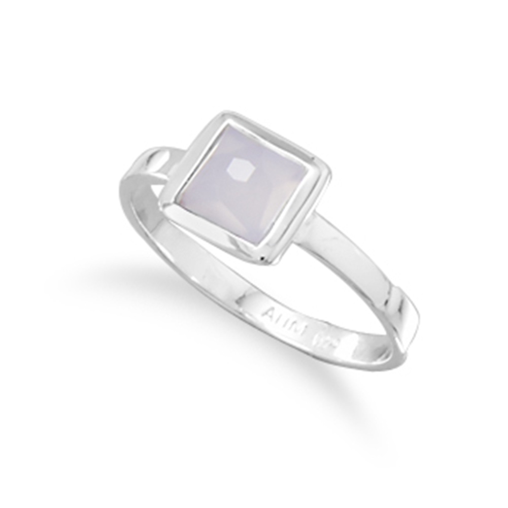 Faceted Synthetic Blue Chalcedony Stackable Ring Square Sterling Silver by unknown
