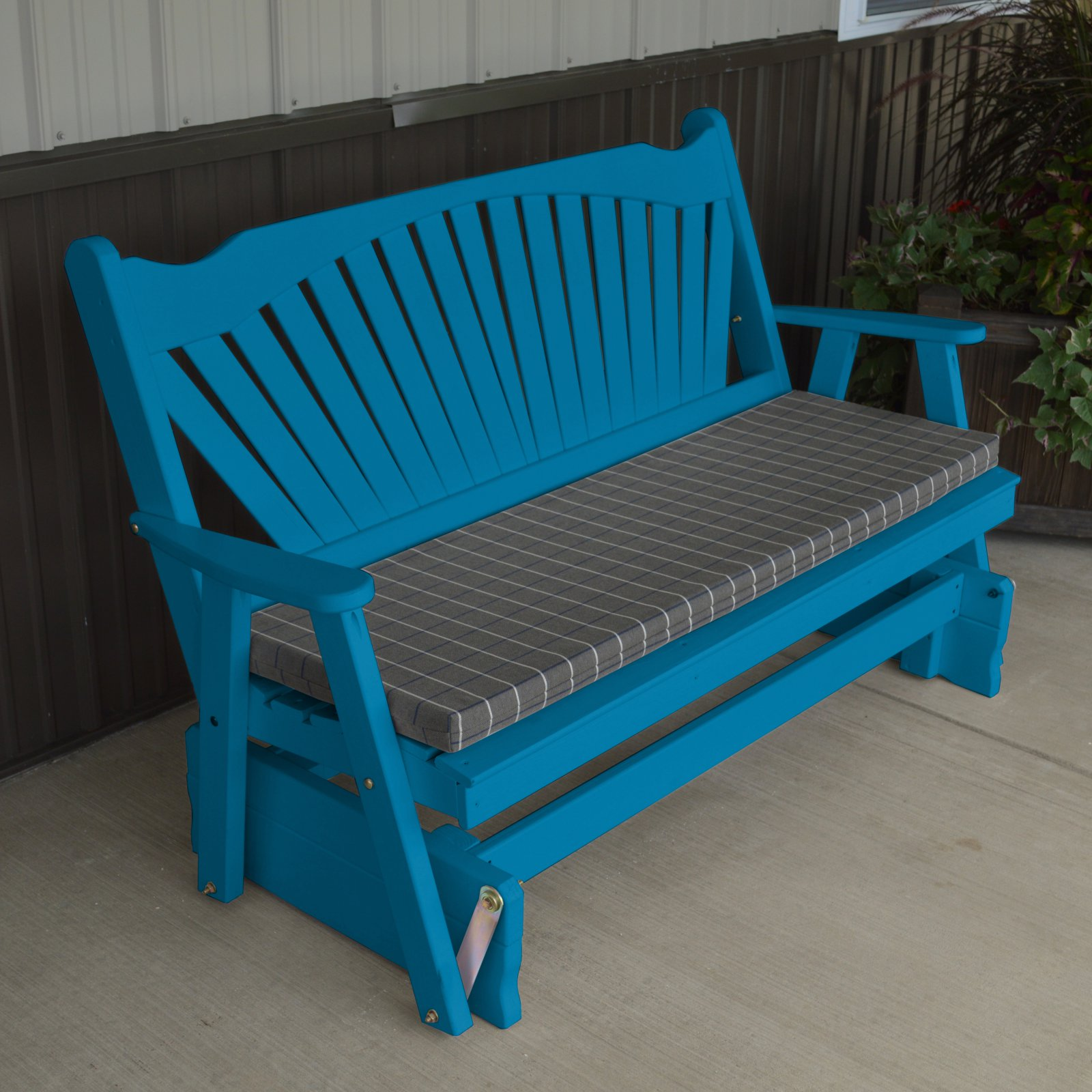 A & L Furniture Yellow Pine Fanback Outdoor Bench Glider by A and L Furniture Co