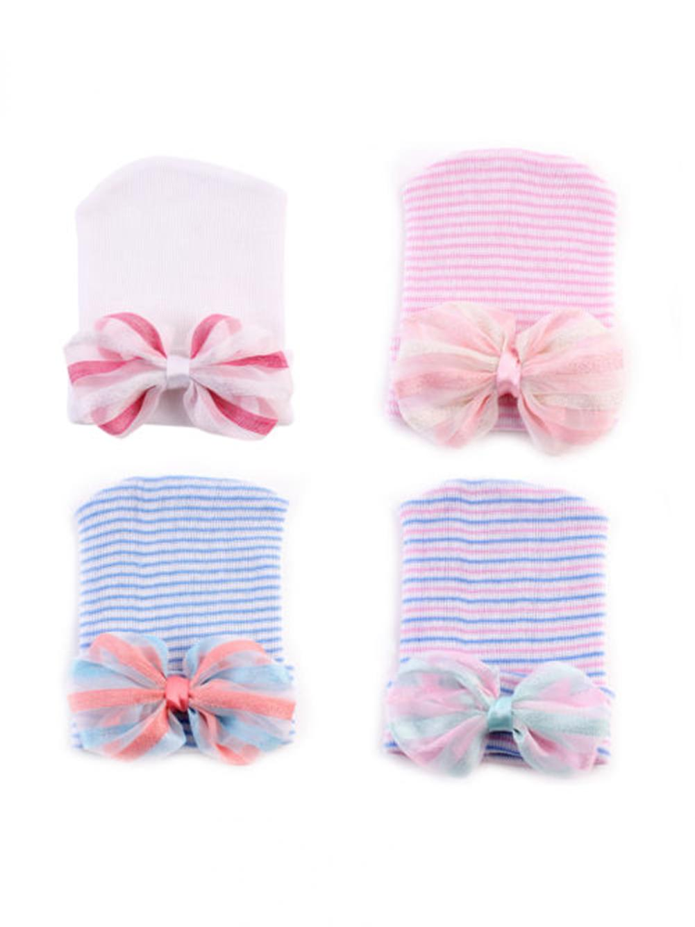 5d517fee612 Cute Newborn Baby Infant Girls Toddler Bow Striped Soft Hospital Cap Beanie  Hat