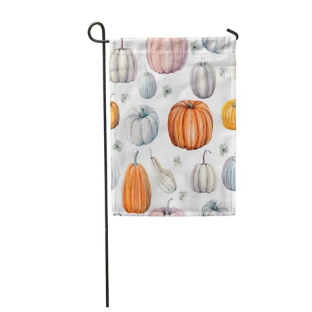 LADDKE Autumn Watercolor Pumpkins It is Thanksgiving Halloween Recipe Food Garden Flag Decorative Flag House Banner 12x18 inch