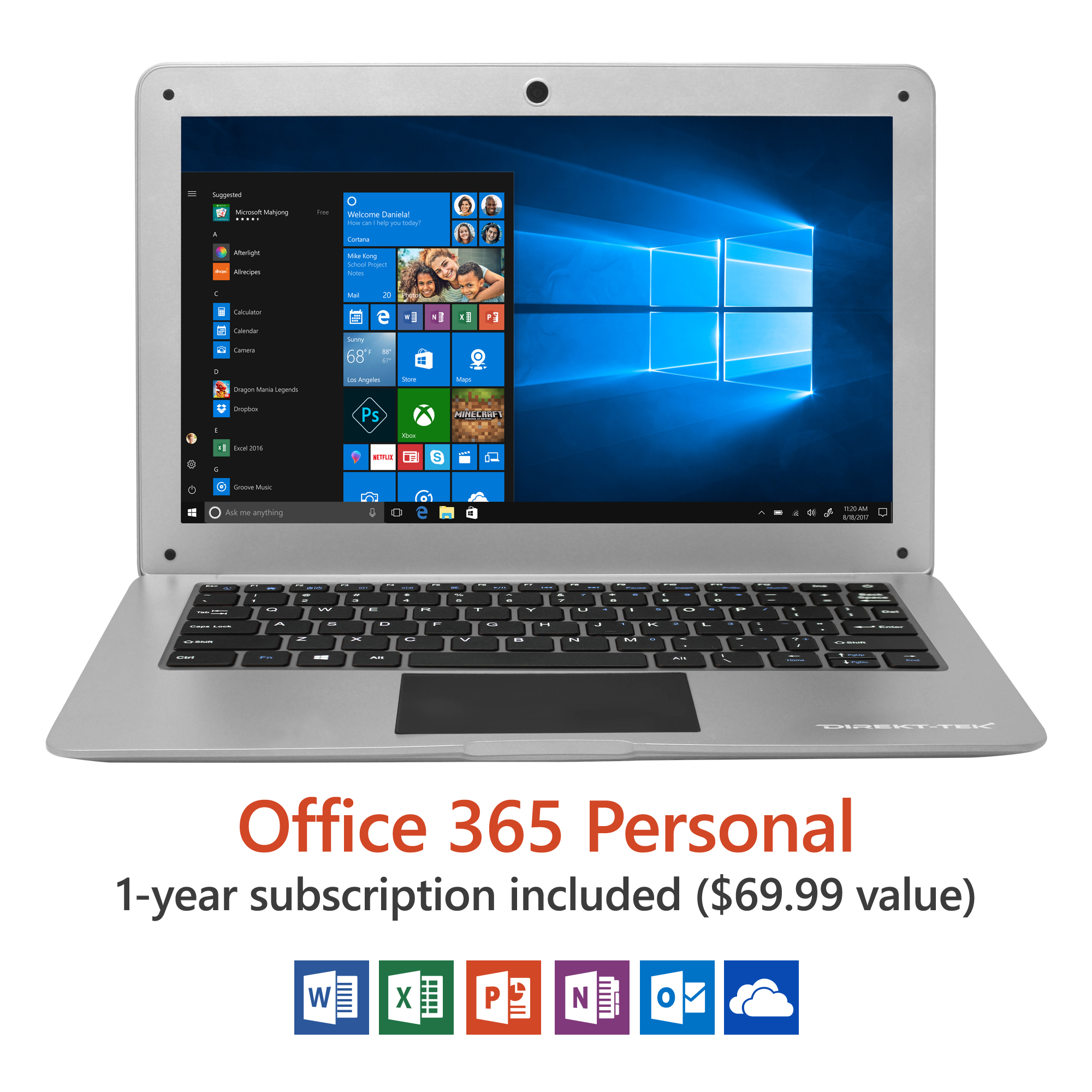 "14"" Ultra Slim Laptop, Windows 10 Home, Office 365 Personal 1-Year Subscription Included ($69.99 Value), Full HD, Intel Processor, 32GB storage, Front camera with 10 hour battery"