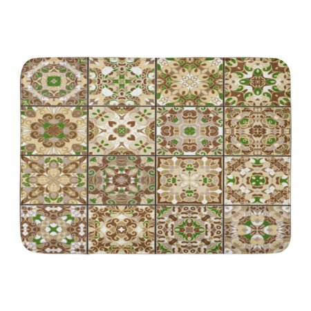 GODPOK Brown Ancient Collection of Ceramic Tiles in Green Gold Colors Patterns Oriental Style Colorful Antique Rug Doormat Bath Mat 23.6x15.7 inch ()
