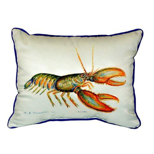 Betsy Drake Interiors Lobster Indoor/Outdoor Lumbar Pillow