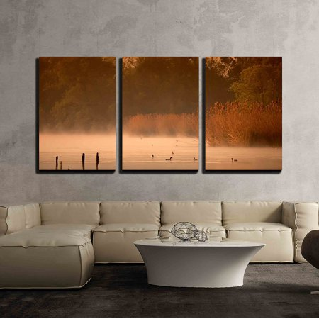 wall26 - 3 Piece Canvas Wall Art - Misty Morning on the Pond with the Birds - Modern Home Decor Stretched and Framed Ready to Hang - 16