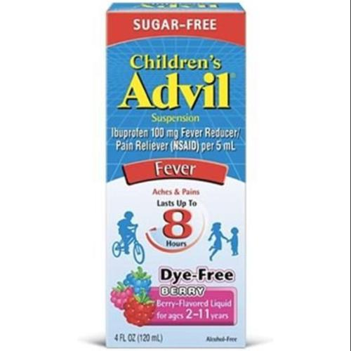 Advil Children's Suspension Sugar Free, Dye Free, Berry 4 oz (Pack of 2)
