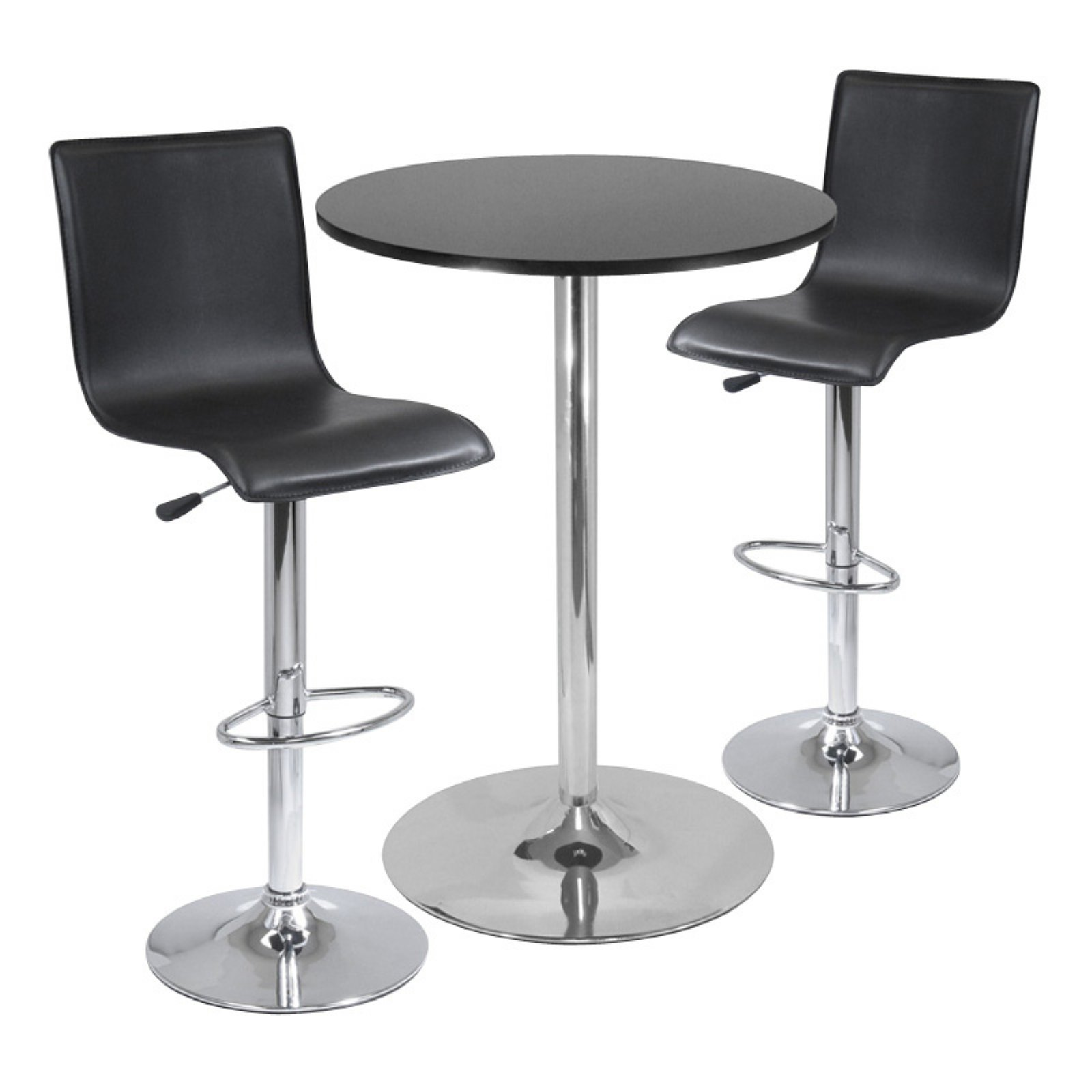 Winsome Wood Spectrum Pub Table & Stools, 3PC Set, Black & Chrome