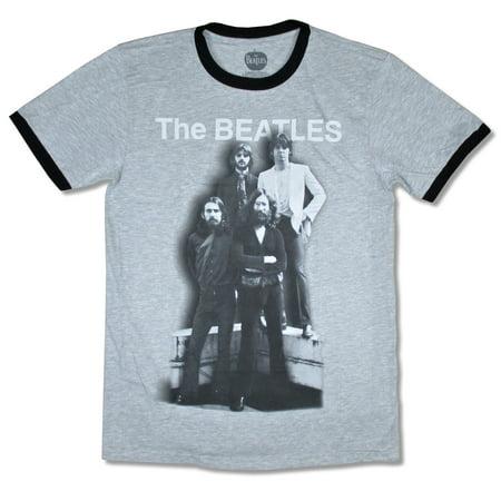 Beatles Shadow Cast Ringer Heather Light Grey T Shirt ()