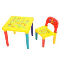 WALFRONT Kids Table & Chairs,2 piece Table & Chairs Plastic DIY Kids Set Toddler Play Activity Fun Child Toy
