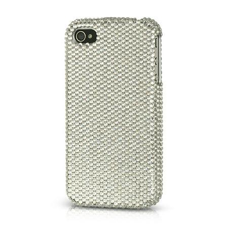 Platinum Series Case - Insten Platinum Collection Endless Sparkles Series Hard Skin Rear Case For Apple iPhone 4 / 4S - Silver