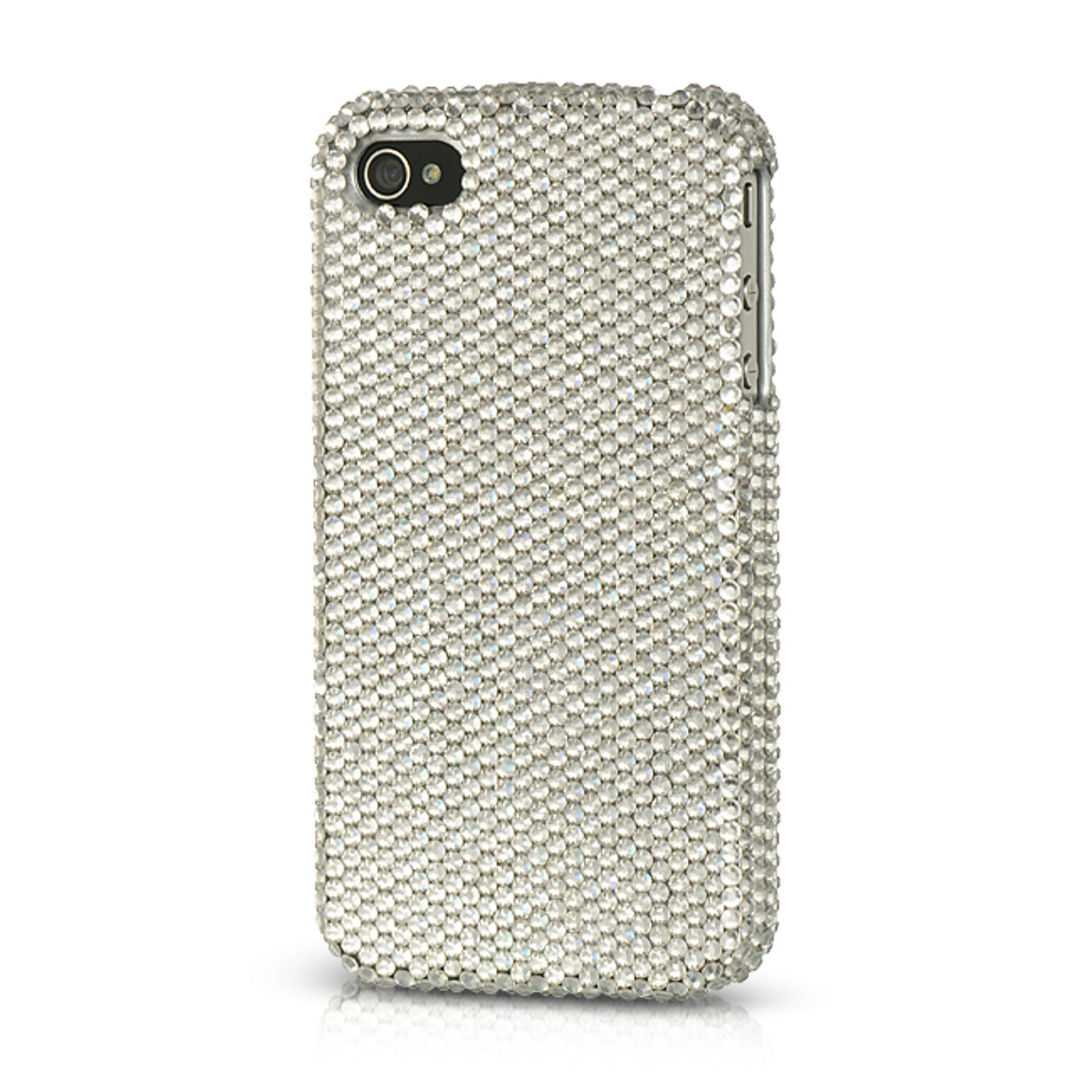 Insten Platinum Collection Endless Sparkles Series Hard Skin Rear Case For Apple iPhone 4 / 4S - Silver
