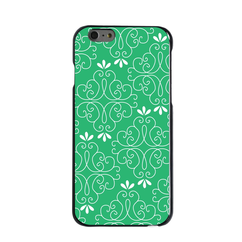 "CUSTOM Black Hard Plastic Snap-On Case for Apple iPhone 6 / 6S (4.7"" Screen) - Light Green White Floral"
