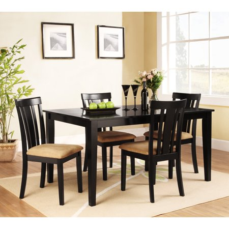 piece rectangle black dining table set 60 in with slat back chairs