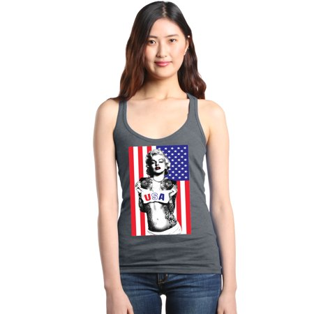 Marilyn Suit - Shop4Ever Women's Marilyn USA Flag 4th of July Racerback Tank Top