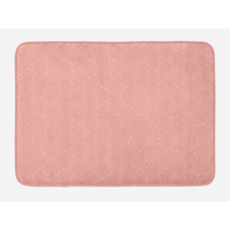 Peach Bath Mat, Soft Colored Background with Crowns and Floral Abstract Motifs with Faded Look Monochrome, Non-Slip Plush Mat Bathroom Kitchen Laundry Room Decor, 29.5 X 17.5 Inches, Coral, Ambesonne