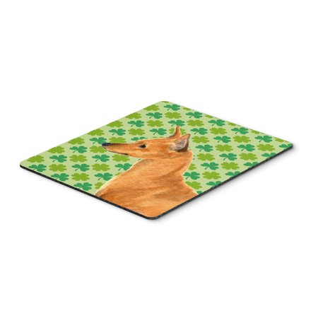 Min Pin St. Patrick's Day Shamrock Portrait Mouse Pad, Hot Pad or Trivet