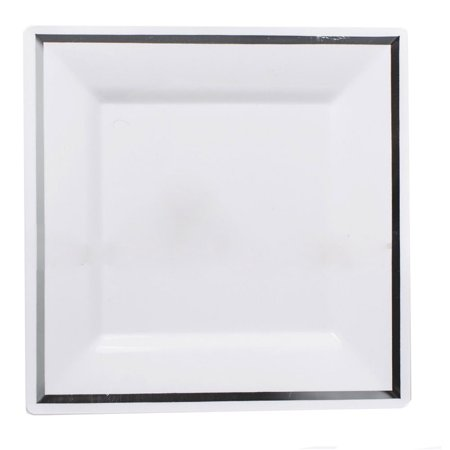 Imperial 6 1/2 Inch White Plastic Square Plate with Silver Band/Case of 120