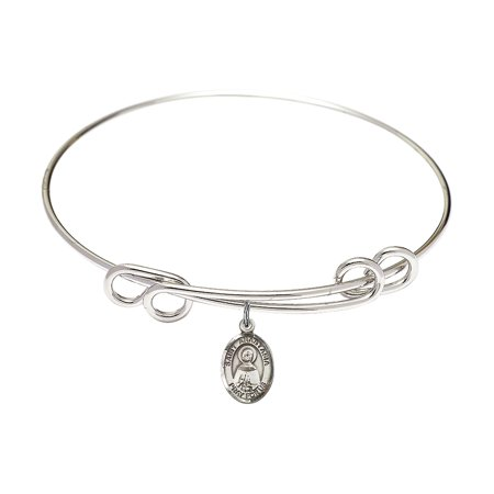 8 1/2 inch Round Double Loop Bangle Bracelet w/ St. Anastasia charm Sterling Silver Medal