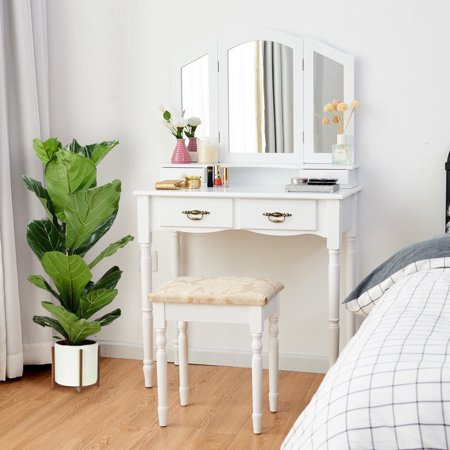 newest c4cdb 67f0a White Tri Folding Mirror Makeup Dressing Table Stool Vanity Set W/ 4  Drawers | Walmart Canada