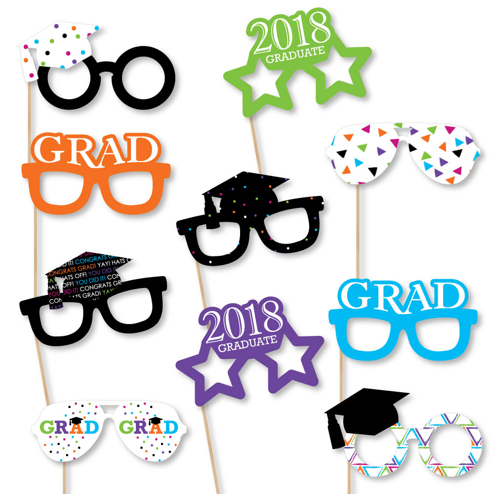Hats Off Grad Glasses - 2018 Paper Card Stock Graduation Party Photo Booth Props Kit - 10 Count