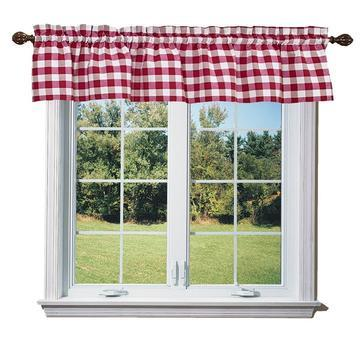 cotton gingham checkered window valance 58 wide red