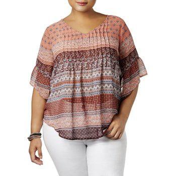 Chiffon Mix - Style & Co. Womens Plus Chiffon Mixed Print Blouse Pink 3X