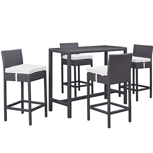 Convene 5 Piece Outdoor Patio Pub Set-Color:Espresso White,Size:Table