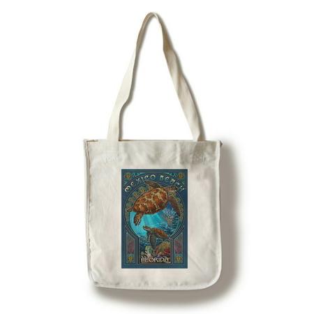 Nouveau Bag (Mexico Beach, Florida - Sea Turtle Art Nouveau - Lantern Press Artwork (100% Cotton Tote Bag -)