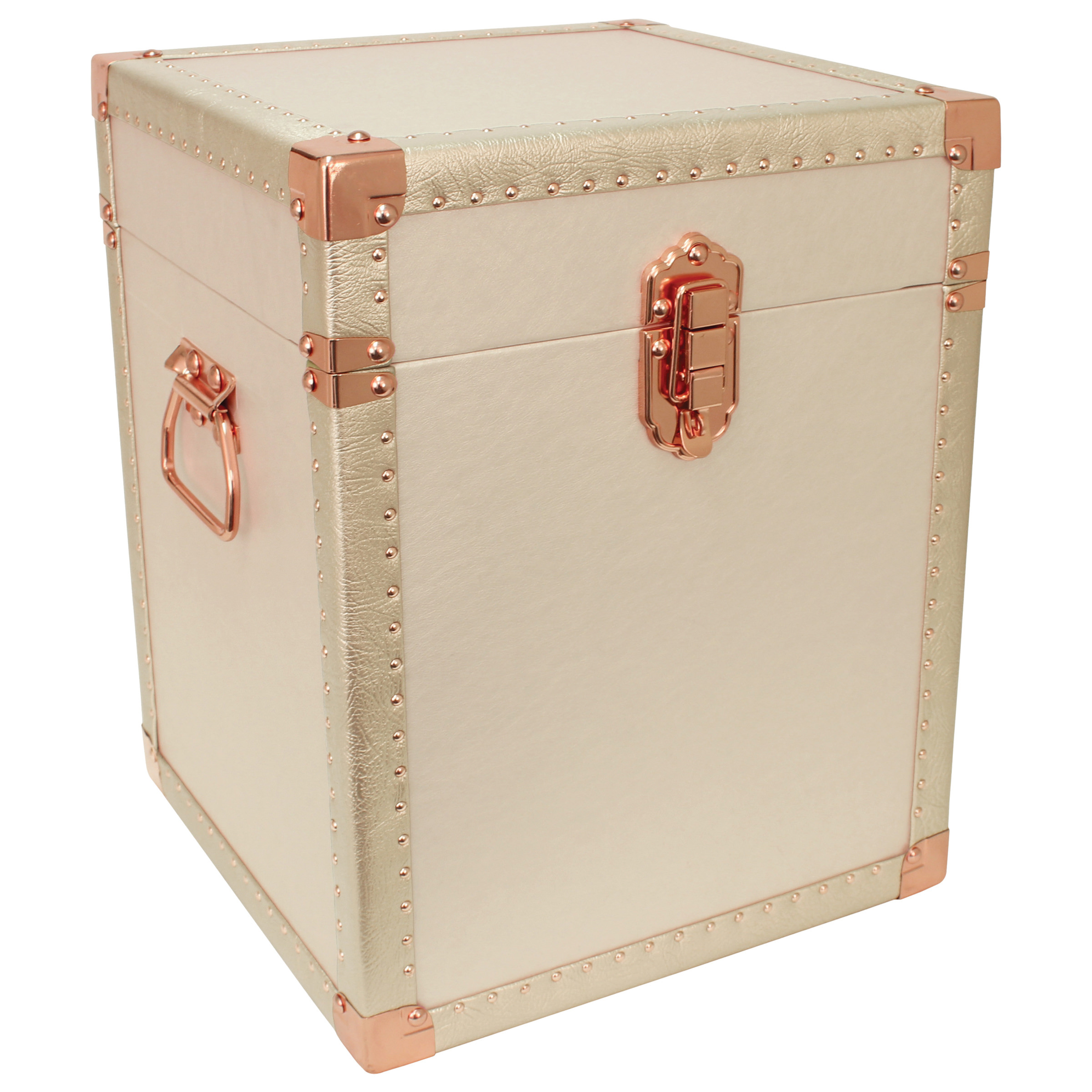 Broadway Collection Trunk Cube End Table, Ivory
