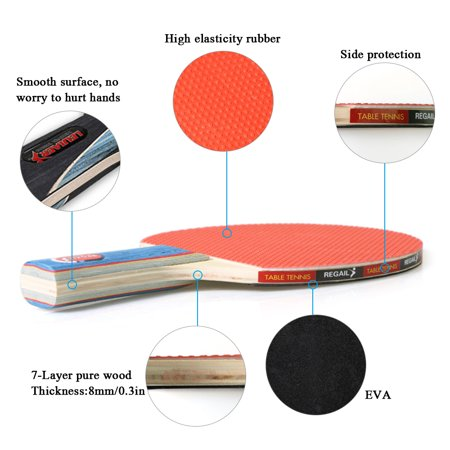 Quality Ping Pong Paddles Table Tennis Rackets 2 Ping Pong Bats Long Handle Ping Pong Racket Set Training Accessories Racquet Bundle Kit with 4 Balls For Both Indoor and Outdoor - image 4 de 7