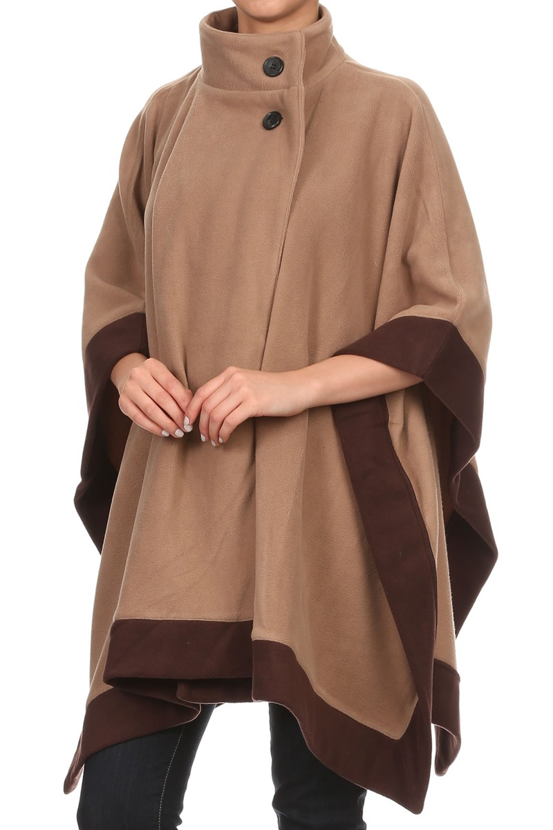 Womens Camel with Dark Brown Trim Front Button Winter Fleece Caftan Poncho Coat