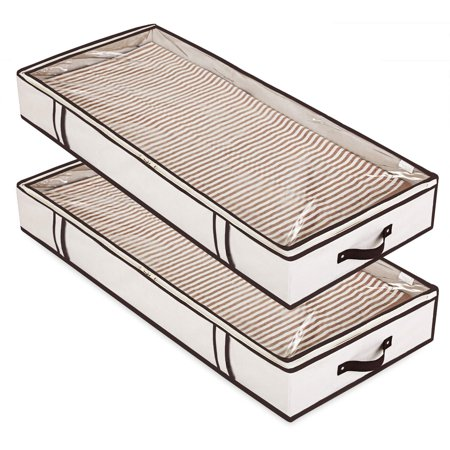Magicfly Under Bed Storage Bags, Sturdy Cardboard in Each Side & Upgrade Quality Zipper & Transparent Top Underbed Organizer for Tidy Up Your Closets