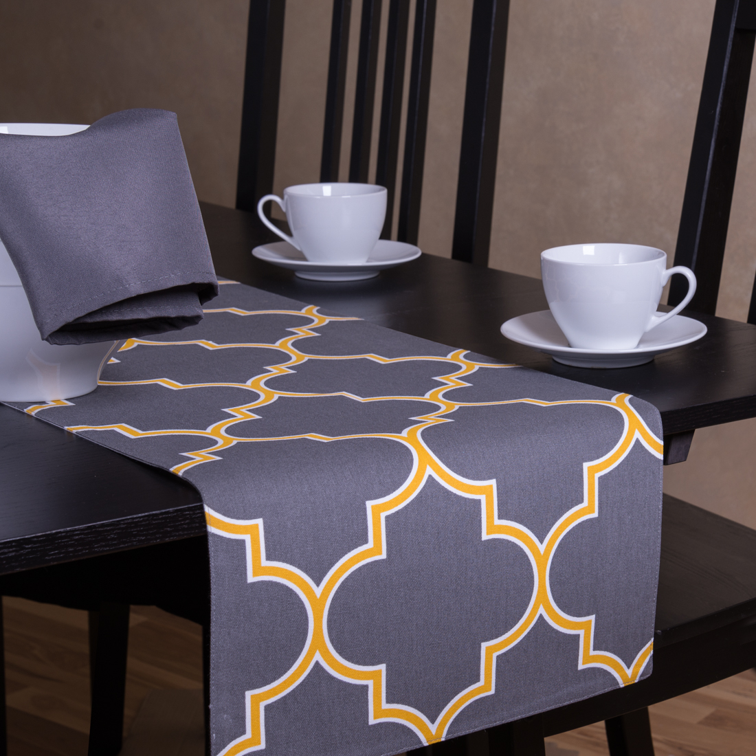 13 x 90 in. Charcoal & Mustard Yellow Trellis Table Runner by