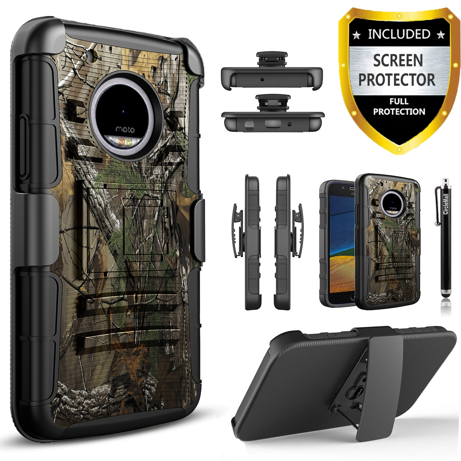 Moto G6 Plus Case, Dual Layers [Combo Holster] And Built-In Kickstand Bundled with [Premium Screen Protector] Hybird Shockproof And Circlemalls Stylus Pen (Camo)