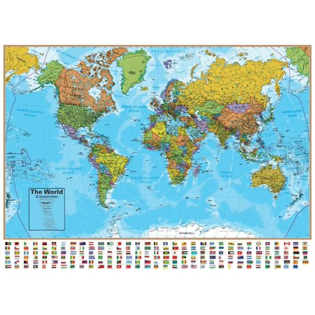 "World Wall Map with Flags - 51"" W x 38"" H - UP-TO-DATE Cartography & Laminated for use with Dry Erase Marker - Perfect for Home, Office and Classroom, Includes.., By Hemisphere"