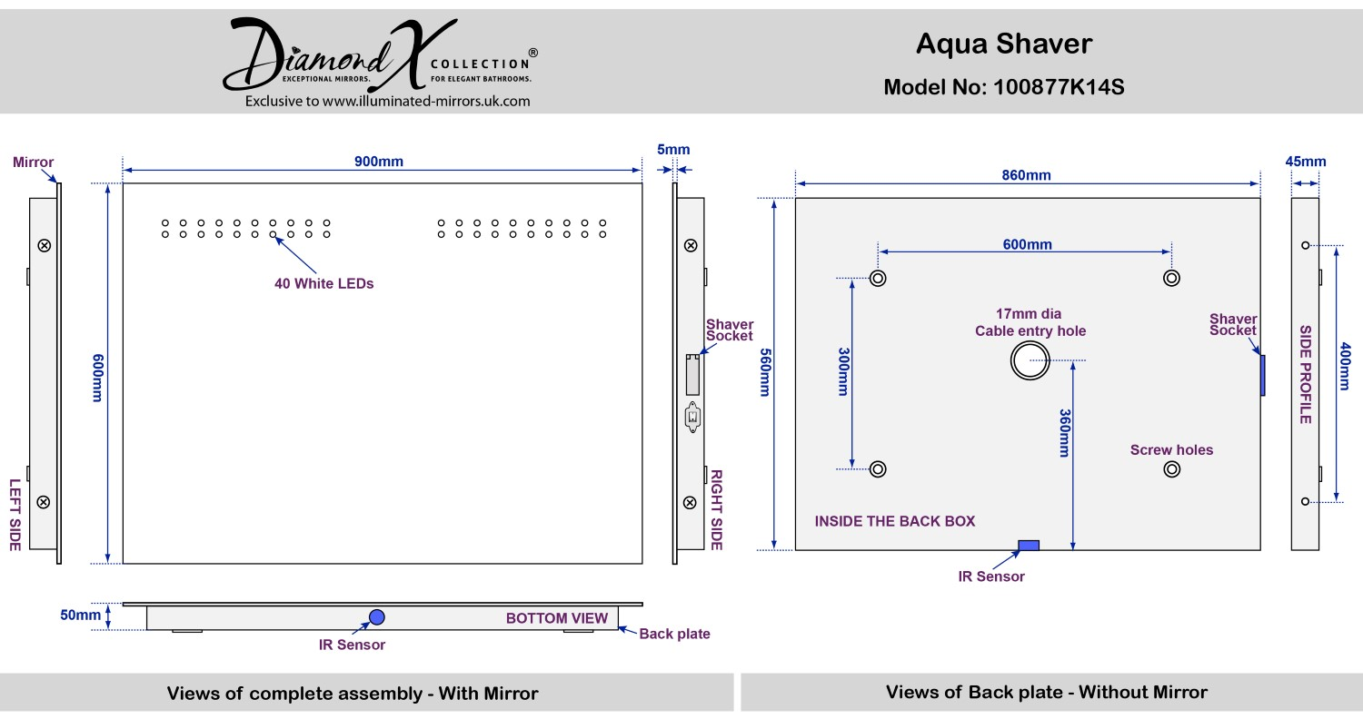 aqua shaver led with mirror illuminated bathroom demister