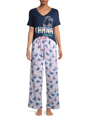 Disney's Stitch Women's and Women's Plus Short Sleeve Top and Pants Sleep Set