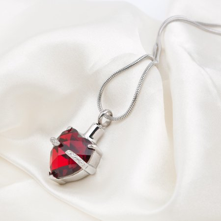 January Birthstone Crystal Heart Cremation Urn Necklace For Human Ashes Heart Memorial Jewelry Keepsake Ashes With Velvet Jewelry Box (Fred Jewelry)