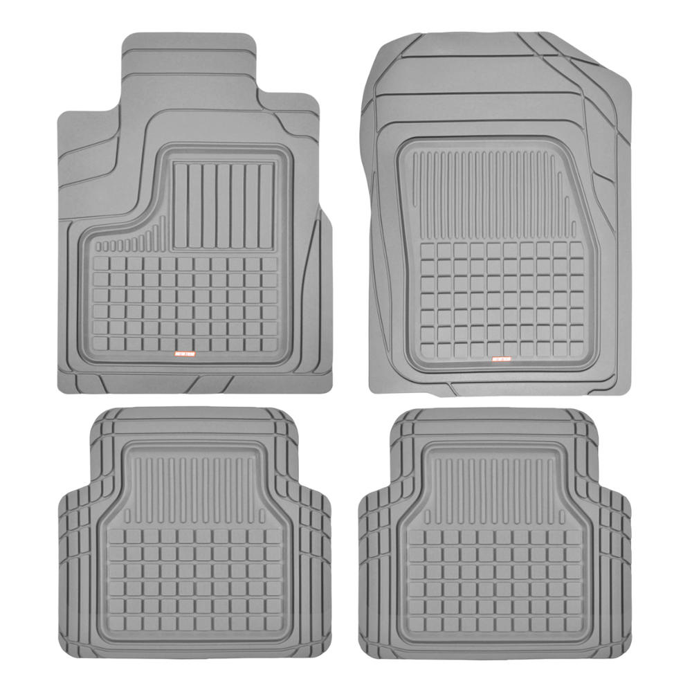 Motor Trend Performance Plus Rubber Car Floor Mats - Heavy Duty Semi-Custom All-Weather Liners - 4pc Set