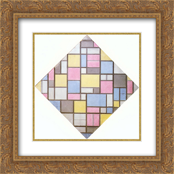 Piet Mondrian 2x Matted 20x20 Gold Ornate Framed Art Print 'Composition with Grid VII'