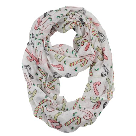 D&Y Christmas Theme Sheer Loop Infinity Scarf, Patterned Candy - Candy Cane Scarf