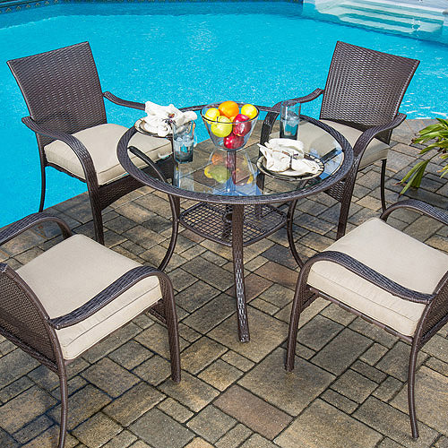Mainstays Wicker 5-Piece Patio Dining Set, Seats 4