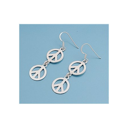 925 Sterling Silver Peace Sign Earrings