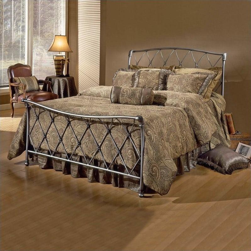 Hilale Silverton Metal Sleigh Bed In, Metal Sleigh Bed Frame Queen