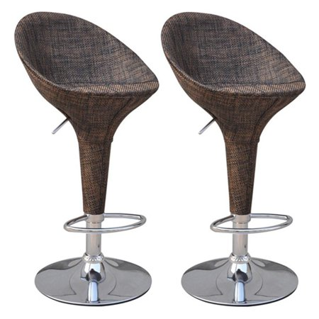 HomCom Rattan Wicker Adjustable Swivel Home Pub Bar Stool - Set of
