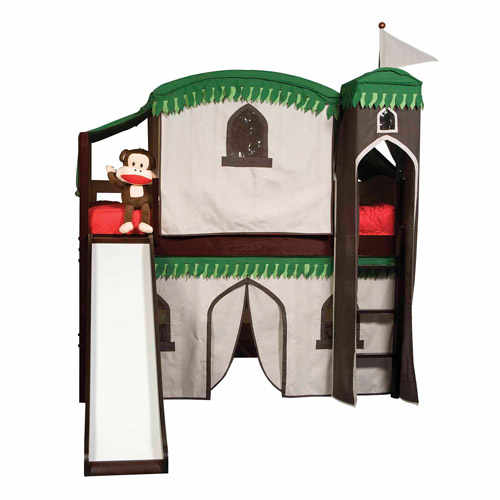 Bolton Furniture Mission Twin Low Loft Bed, Espresso, Treehouse Tower, Top Tent and Bottom Curtain and Slide