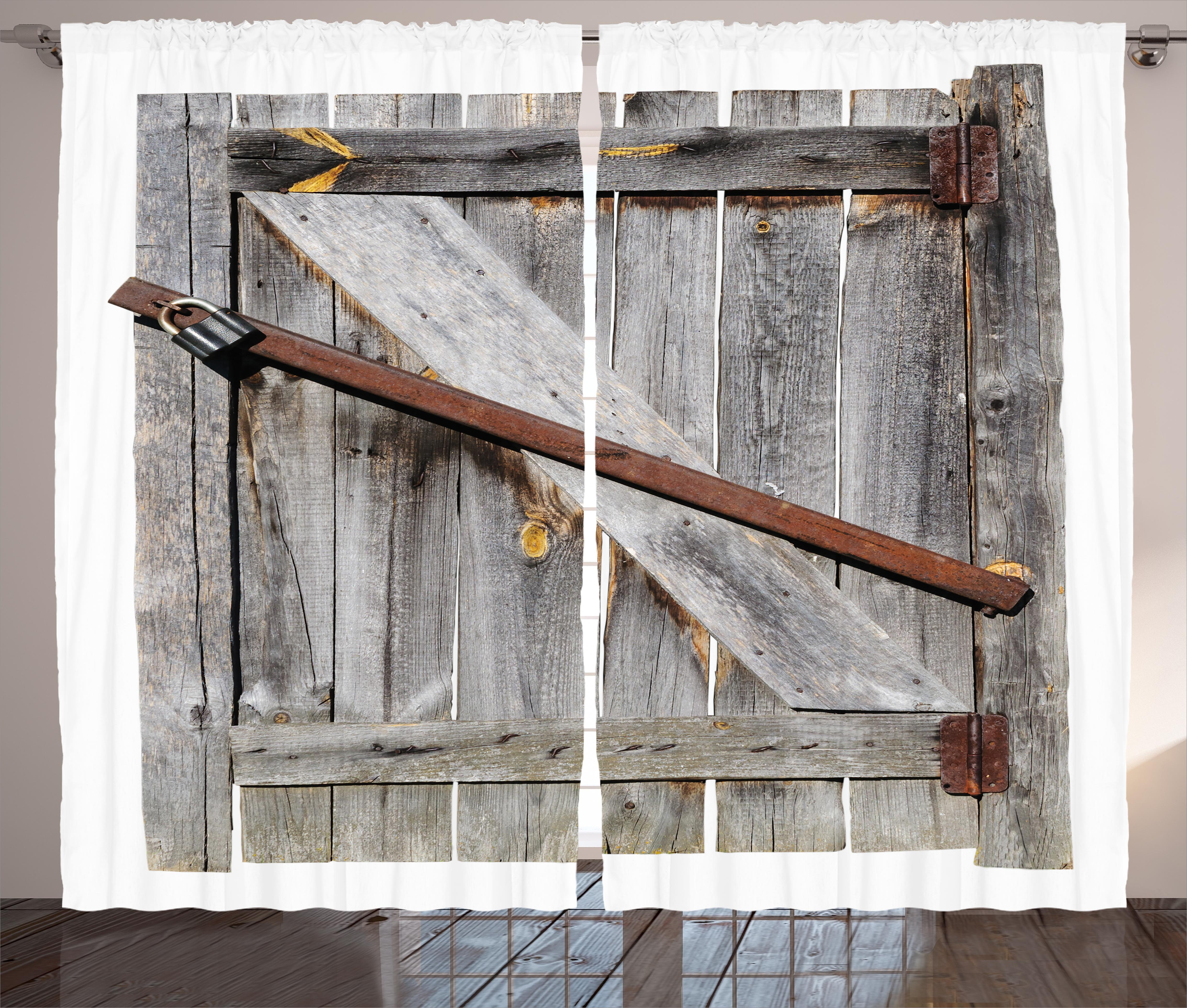 Rustic Curtains 2 Panels Set, Aged Wood Barn Door With Rusty Crossed Locks  Abandoned Ancient