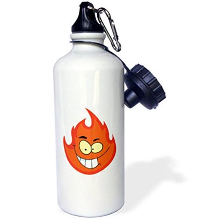 3dRose Cute Silly Flame Fire Cartoon Character, Sports Water Bottle, 21oz