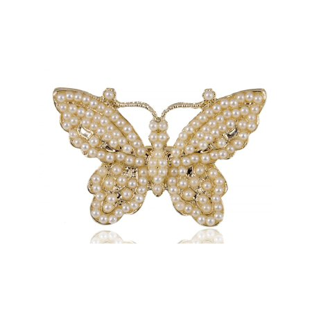 Faux Pearl Beaded Golden Tone Butterfly Spread Beautiful Cute Fashion Sized Ring