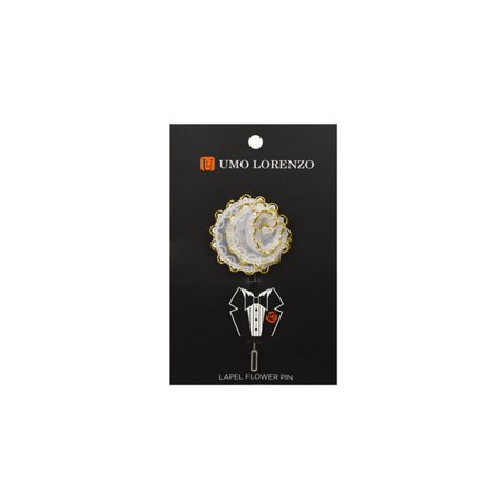 Men's White Lace Flower Lapel Pin Boutonniere for Suit - Flower Blazer