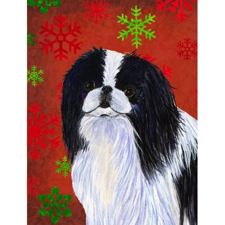 Japanese Chin Red and Green Snowflakes Holiday Christmas Flag